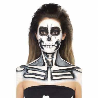 Skelet halloween schmink kit zwart wit