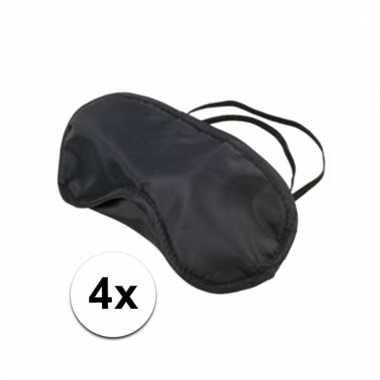 Slaapmaskers zwart 4 stuks