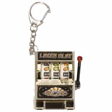 Sleutelhanger gokkast zilver met licht en geluid