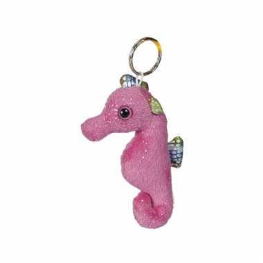 Sleutelhanger met roze zeepaardje