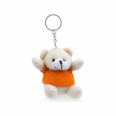 Sleutelhangertje beer met oranje shirt