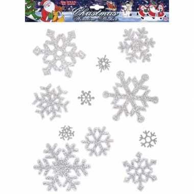 Sneeuwvlok raamstickers zilver herbruikbaar