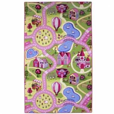 Speeldeken roze dorp met wegen 100 x 165 cm