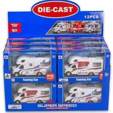 Speelgoed auto camper wit/rood 10 x 17 cm