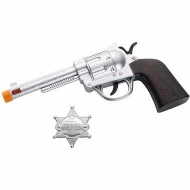 Speelgoed cowboy sherrif pistool en badge