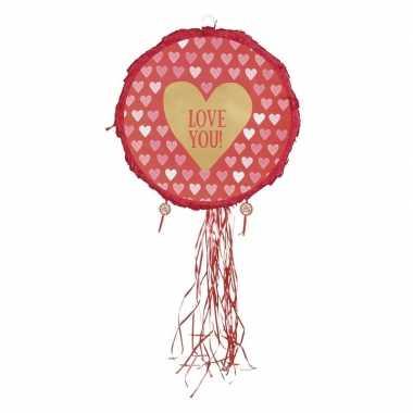 Speelgoed/kinderfeest pinata hartjes rood 40 cm