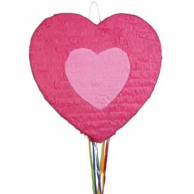 Speelgoed pinata hartje roze 45 cm