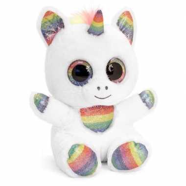 Speelgoed zittende witte knuffel eenhoorn 25 cm
