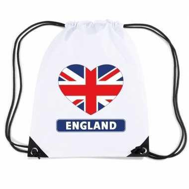 Sporttas met rijgkoord engeland vlag in hart