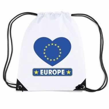 Sporttas met rijgkoord europa vlag in hart