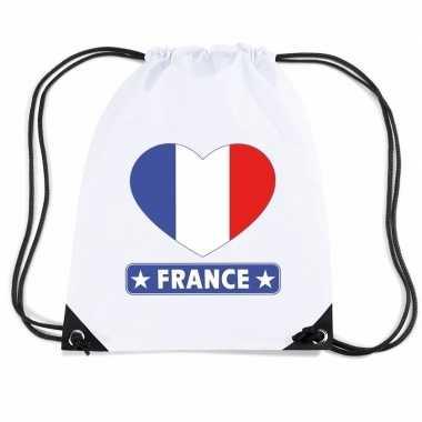 Sporttas met rijgkoord frankrijk vlag in hart