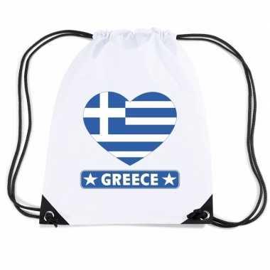 Sporttas met rijgkoord griekenland vlag in hart