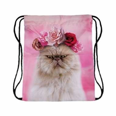 Sporttasje roze met katten poezen kop