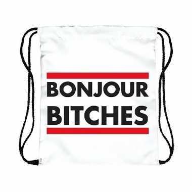 Sporttasje wit bonjour bitches