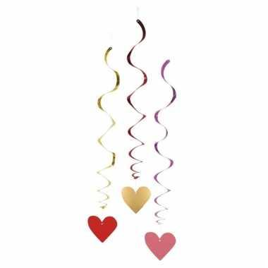 Swirl harten decoratie 3 stuks