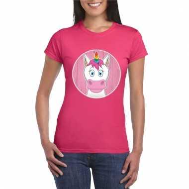 T-shirt eenhoorn roze dames