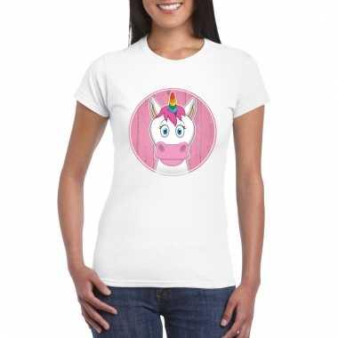 T-shirt eenhoorn wit dames