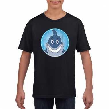 T-shirt haai zwart kinderen
