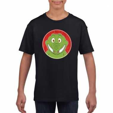 T shirt krokodil zwart kinderen