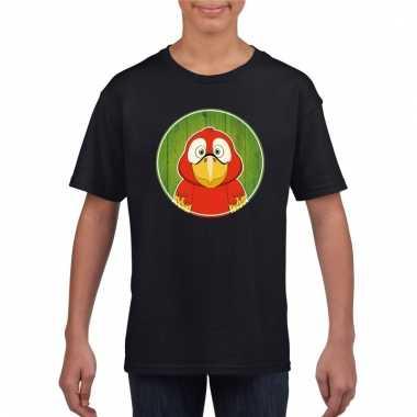 T shirt papegaai zwart kinderen