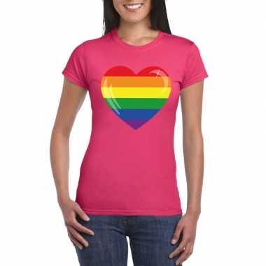 T-shirt roze regenboog vlag in hart roze dames