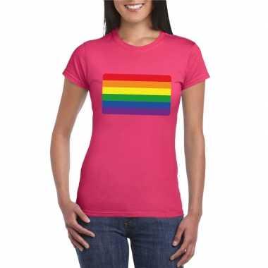 T-shirt roze regenboog vlag roze dames
