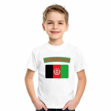 T-shirt wit afghanistan vlag wit jongens en meisjes