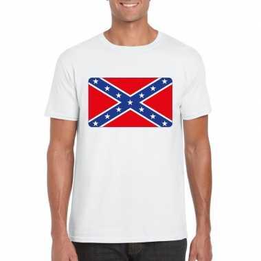 T-shirt wit amerikaanse zuidelijke staten vlag wit heren
