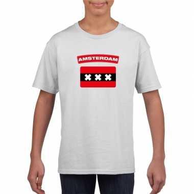 T-shirt wit amsterdam vlag wit jongens en meisjes