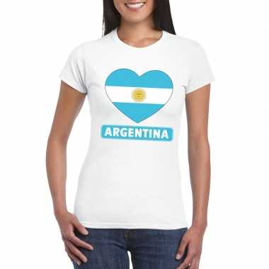 T-shirt wit argentinie vlag in hart wit dames
