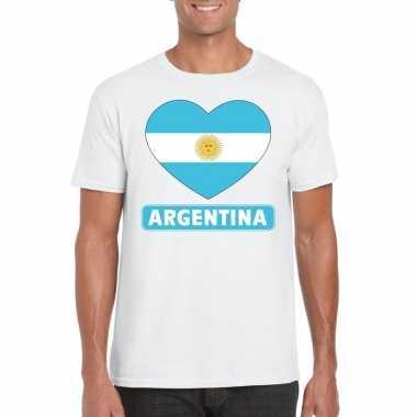 T-shirt wit argentinie vlag in hart wit heren