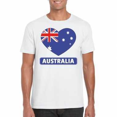 T-shirt wit australie vlag in hart wit heren