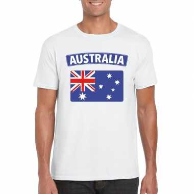 T-shirt wit australie vlag wit heren