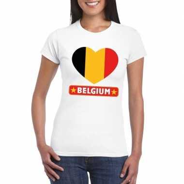 T-shirt wit belgie vlag in hart wit dames