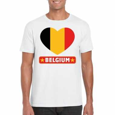 T-shirt wit belgie vlag in hart wit heren