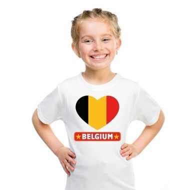 T-shirt wit belgie vlag in hart wit kind