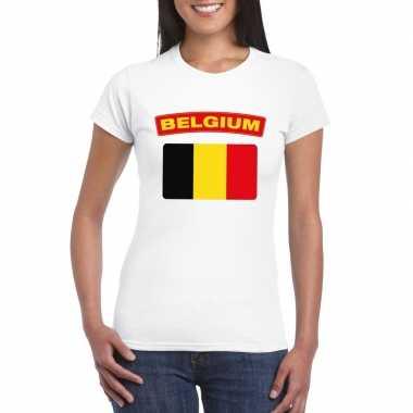 T-shirt wit belgie vlag wit dames