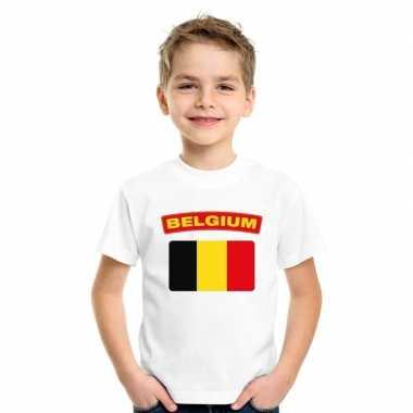T-shirt wit belgie vlag wit jongens en meisjes