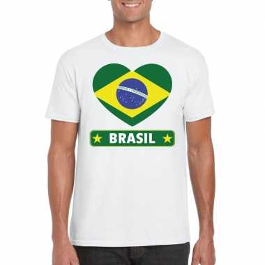 T-shirt wit brazilie vlag in hart wit heren