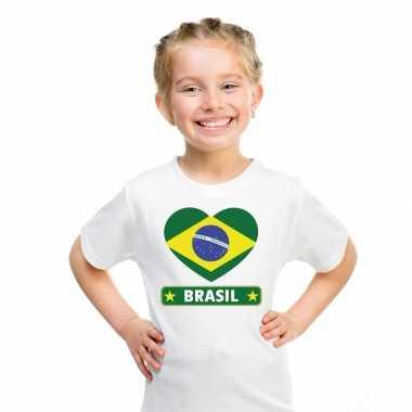 T-shirt wit brazilie vlag in hart wit kind