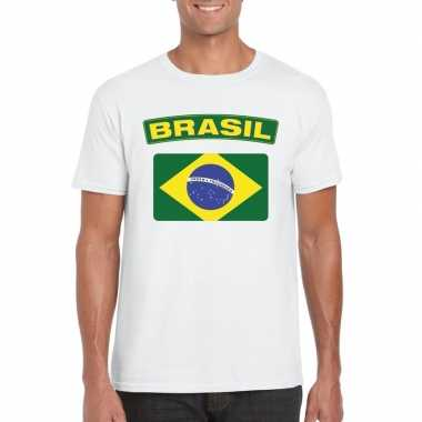 T-shirt wit brazilie vlag wit heren