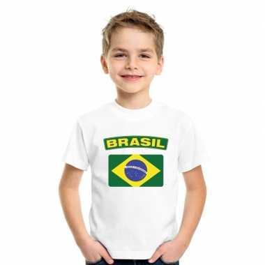 T-shirt wit brazilie vlag wit jongens en meisjes