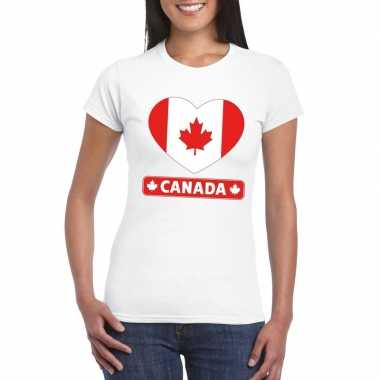 T-shirt wit canada vlag in hart wit dames