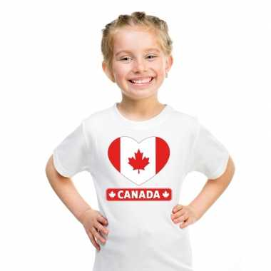 T-shirt wit canada vlag in hart wit kind