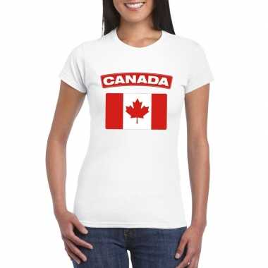 T-shirt wit canada vlag wit dames
