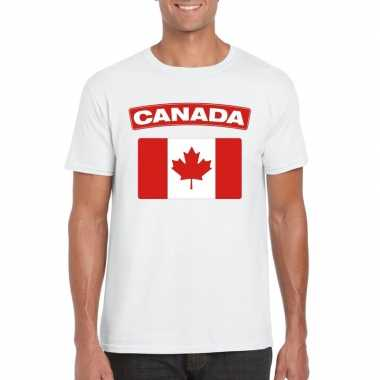 T-shirt wit canada vlag wit heren