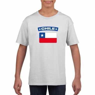 T-shirt wit chili vlag wit jongens en meisjes
