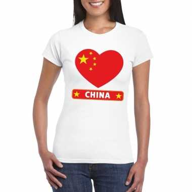 T-shirt wit china vlag in hart wit dames