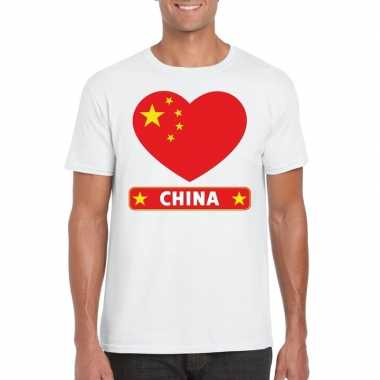 T-shirt wit china vlag in hart wit heren