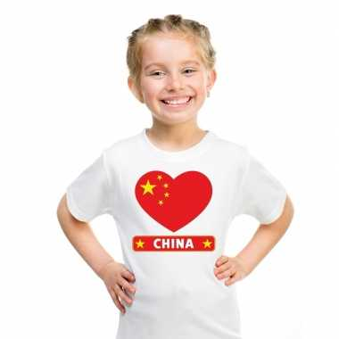 T-shirt wit china vlag in hart wit kind